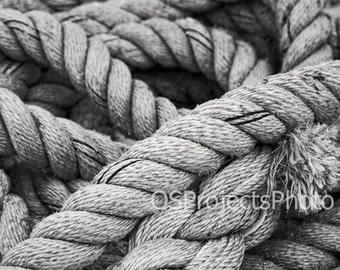 Nautical Rope III - Nautical Photography - Marine Rope Photo - Nautical Home Decor - Black and White Photo - Beach House Decor