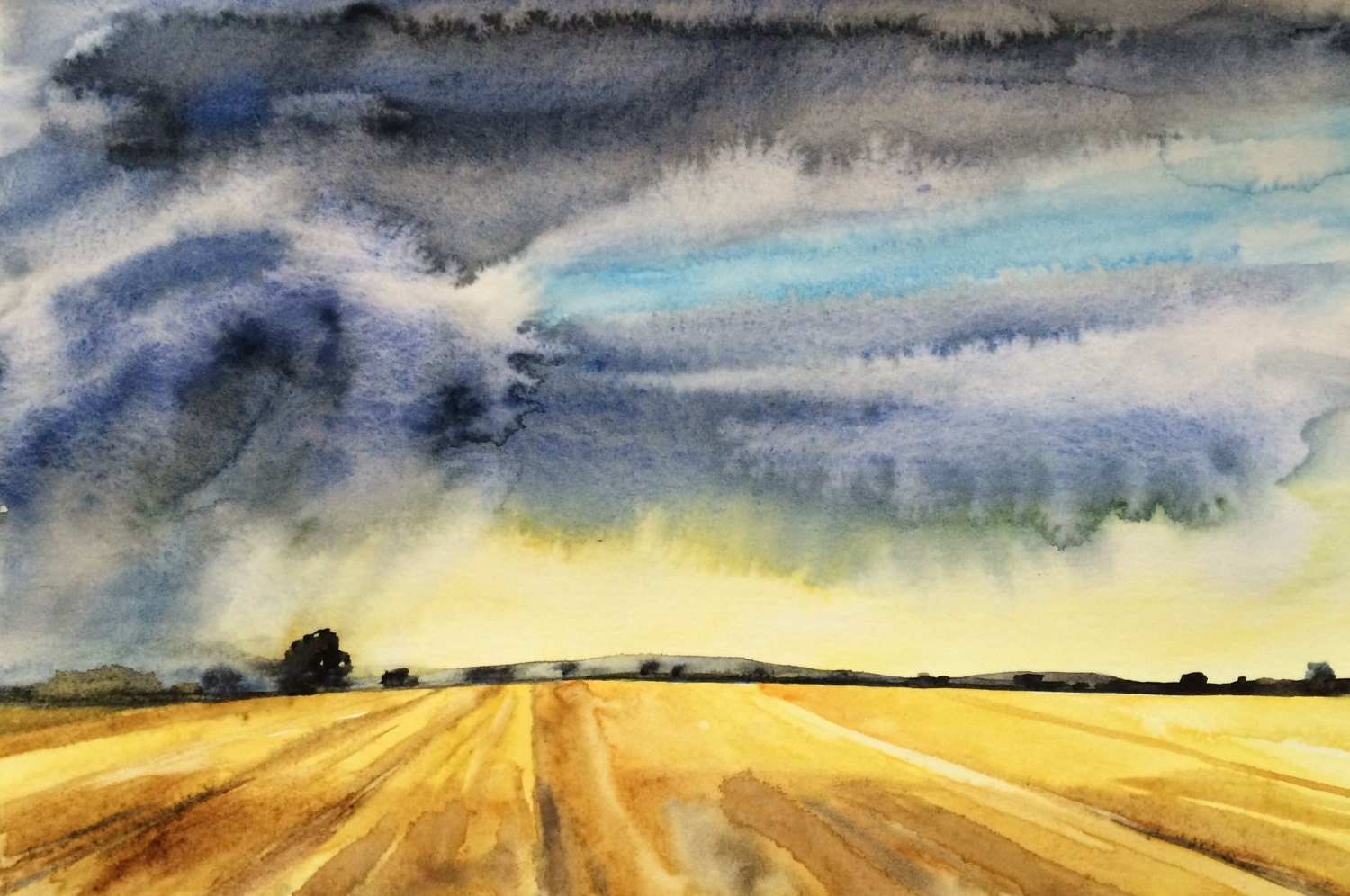 Wheat Field Storm clouds rural landscape Midwest painting for Wheat Farm Painting  131fsj