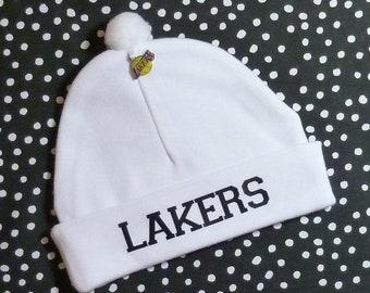10% OFF SALE Newborn Baby Hat for the Los Angeles Lakers Fan Infant Cap LA Charm Beanie