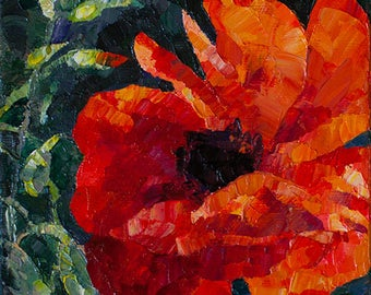 Red Poppy Flower Painting Oil on canvas Paletteknife Small Painting