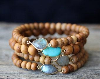 Sandalwood Boho Bead Bracelets, Labradorite Turquoise 14K Gold Vermeil Fragrant Wood Stacking Bracelet, Blue, Green Bohemian Beadwork
