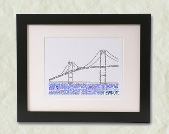 Newport Bridge Word Art Print
