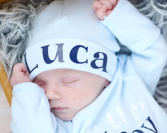 Newborn boy personalized knit hat, newborn boy take home hospital hat, newborn photo prop, light blue baby boy hat, baby boy knit beanie