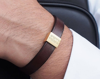 Valentine's Day Gift for Him / Personalized Leather Bracelet / Coordinates Bracelet / Mens Bracelet / Groomsman gift - LB01