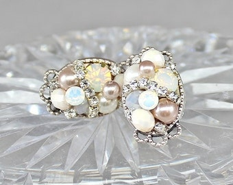 Blush Bridal Studs- Art Deco Studs-Bridal Cluster Earrings- Rhinestone Studs- Wedding Earrings-Vintage Inspired Studs-Pearl Cluster Earrings
