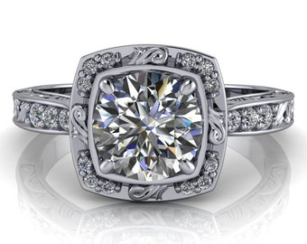 Moissanite Engagement Ring Diamond Halo Setting - Mystical