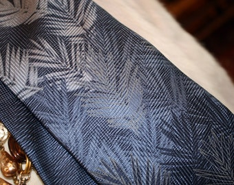 Blue Silk Necktie, Tropicals by Tango, Fronds, Leaves, Palms, 100% Silk, Gradient Color,Shades of Blue, Made in Korea, FREE US Shipping