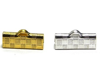 10x Brass Ribbon Crimp Ends 15 mm - Silver or Gold plated - Crimp Terminals for Flat Cord or Macrame