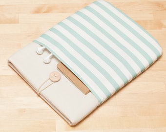 Surface Pro sleeve, Surface Pro Case, Surface Pro Cover, Surface Book case, padded with pockets - Mini cream stripes