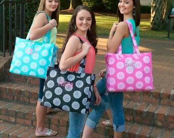 Monogrammed Pink or Black tote Bag