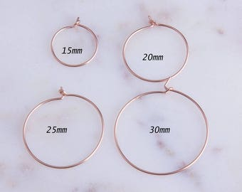 2Pairs-Rose Gold Filled Wire Hoop Earrings,Rose Gold Wire Earrings, Minimalist Hoop Earrings, Simple Hoop Earrings,Priced Per Pair,GFER129