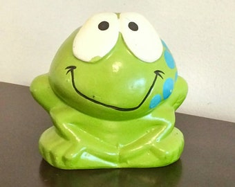 1972 Russ Berrie Frog Bank, Retro Neon Green Day Glo Collectible, Vintage Kids Toy Coin Bank