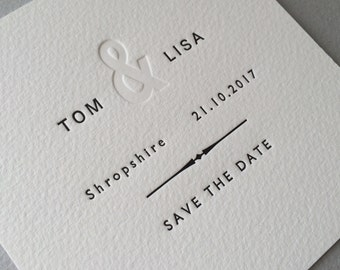 50 x Letterpress Save the Date cards