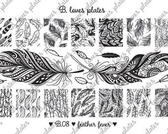 B.08 - feather fever - nail stamping plates (B. Loves Plates )