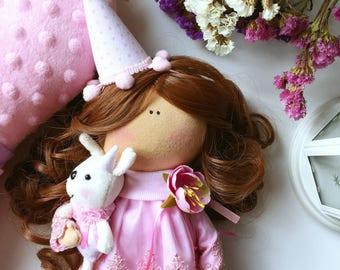 Handmade doll - Art doll - Collecting doll - Tilda doll - Interior doll - Textile doll - Сloth doll - Birthday doll - Pink doll