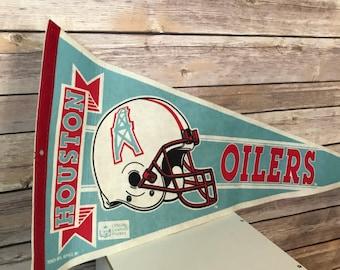 Vintage NFL Houston Oilers 3 Bar Facemask Style #2 Logo Football Pennant