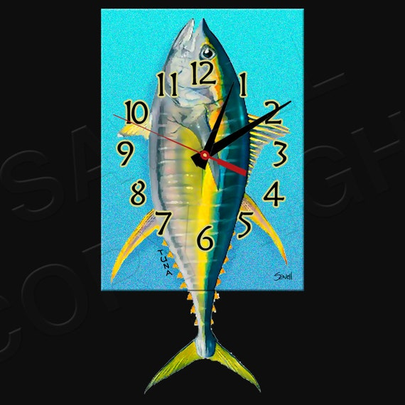 Tuna Clock with Swinging Tail Pendulum • Fish Clock • Deep Sea Fishing