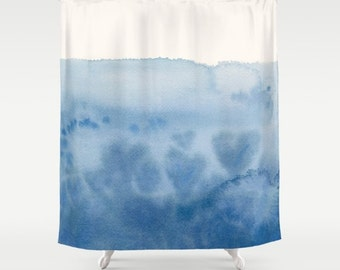 Blue Watercolor Shower Curtain - Waves of Love , unique,blue, hearts, dip dye look , ocean, coastal,  painted, colorful, decor, home