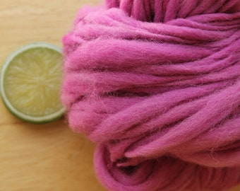 Wild Orchid - Handspun Wool Yarn Pink Lilac Thick and Thin Skein Hand Dyed
