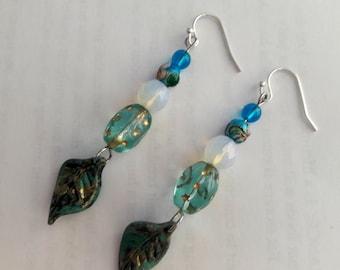 Opalite & Blue glass Stars Leaf Earrings.