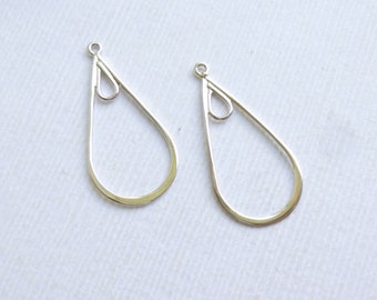 Sterling Silver Small Teardrop Connectors  -- Two Pieces  -- Earring Components... HBS2408