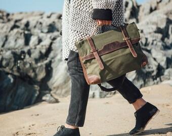 Waxed Canvas Bag / Messenger Bag/ Waxed Leather Satchel Bags/ Canvas Messenger Satchel Bag / Macbook Canvas Satchel Bag / Waxed Shoulder Bag
