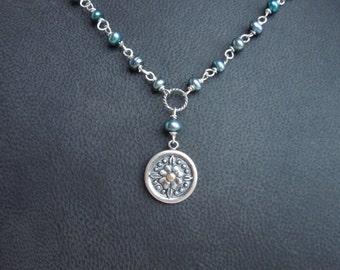 Blume Anhänger und blau Süßwasser Perlenkette - Sterling Silber 14 k Gelbgold