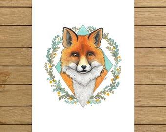 "Fox Portrait, Fox, Wild, Animals, Forest, Giclée Print, Watercolor Illustration, Home Decor, Nursery Decor, A5, 8.5""x11"", A4, A3, 13""x19"""