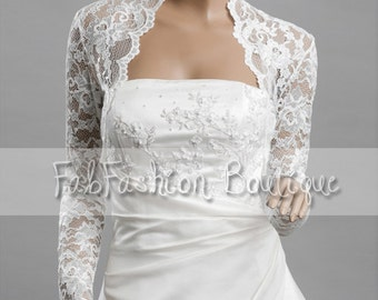 Stretchy lace wedding bridal evening long sleeved bolero jacket shrug Size S-XL, 2XL-4XL