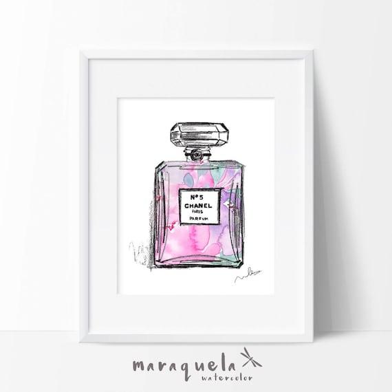 CHANEL nº 5 PARFUM modern Illustration Flowers WATERCOLOR pink and violet roses, elegant hues. Chanel Paris original handame. Fashion Decor