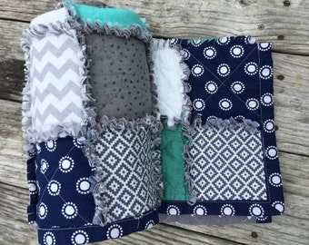 Modern Aztec Rag Quilt (Baby Quilt Ready to Ship)