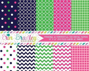 80% OFF SALE Digital Scrapbook Papers Personal and Commercial Use Preppy Navy Blue Pink and Green