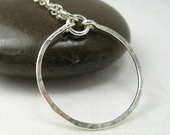 MERIDIAN SILVER NECKLACE, sterling silver circle pendant necklace hammered pendant layering necklace