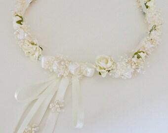 Ivory flower girl crown