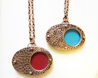 Etched Enamel Necklace, Riveted on Copper, Layered Copper, Artisan Jewelry, Mixed Media, 3D, Hand Enameled Jewelry, Red or Blue Orb Pendant