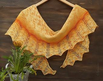 Knitted shawl, lace shawl, extra fine merino wool shawl, semi circle shawl, orange shawl, gift for her, women accessory, hand knit scarf