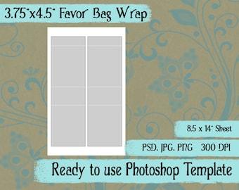 "Party Favor Bag  Candy Bag Wrap Digital Collage Photoshop Template, 3 3/4"" x 4 1/2"", No Window"
