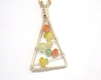 Gemstone Jewelry Wire Wrapped Necklace Sterling Silver Pendant Necklace