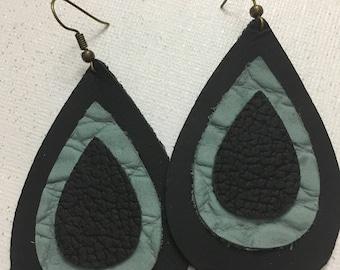 Light blue & black layered leather earrings