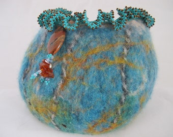 Felted vessel-Felted bowl- wet felted container-blue-brown-merino wool-mohair yarn-beaded felted-wool vessel-wool bowl-wool container