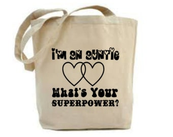 Auntie Bag, Auntie Gift, Bag for Aunty, Aunt Tote Bag, Grocery Bag, Quote Shopping Bag, Canvas Tote Bag, Shoulder Bag, Superpower Aunty