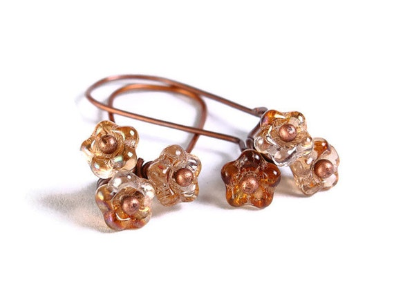 Handmade champagne beige petite Czech bell flower floral dangle earrings (686)
