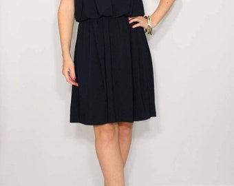 SALE Navy dress short Bridesmaid dress Dark blue dress Spaghetti strap dress Navy blue dress
