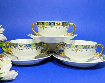 Four Union Ceramique Limoges Double Handle Bouillon Soup Cups and Saucers Butterflies
