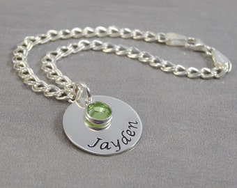 Hand Stamped Jewelry - Personalized Jewelry - Mom Bracelet - Sterling Silver Charm Bracelet - 1 to 8 charms -  Names and Birthstones