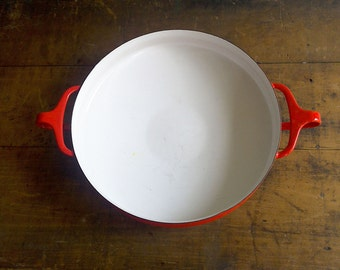 Red Dansk Kobenstyle Paella Pan | Mid Century Kitchen | Danish Modern | Enamel Cookware | Shallow Cooking Pan | Oven Safe