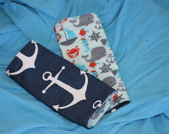 Two Reversible Nautical Anchor Suck pads for Tula, Ergo, Beco and Lillebaby