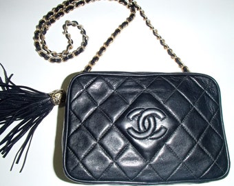 CHANEL BAG Black/ Free Chanel Dust Bag/ Leather CC Logo /Tassel Gold Chain/ Vintage Italy 1990s Authentic and Rare