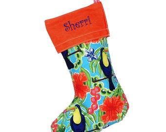 Personalized Stocking | Xmas Stocking | Girls Stocking | Monogrammed Christmas Stocking | Hanging Stockings | Tucan Stocking Coral Trim