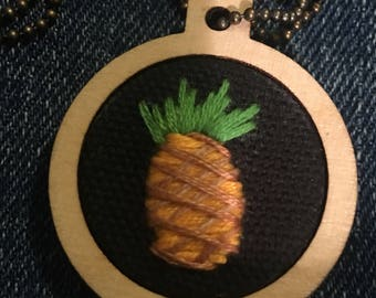 1 Inch Wooden Hoop-Pineapple Necklace